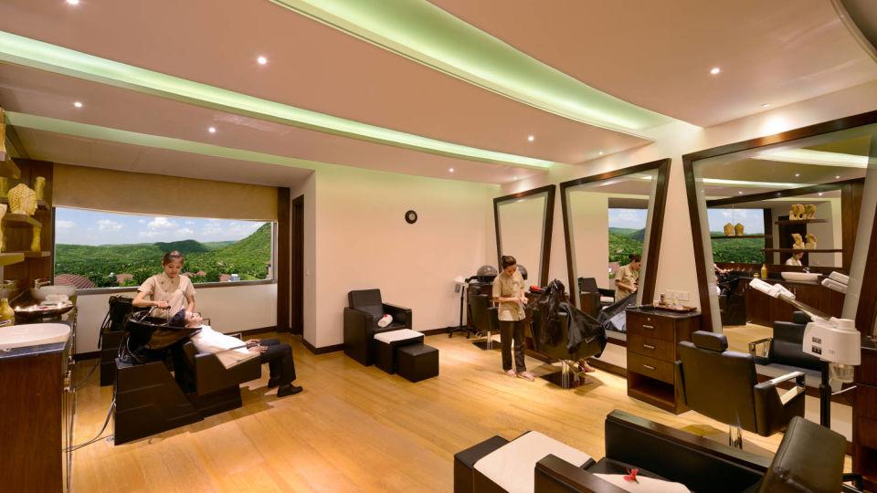 Glitz salon interior at the Best Resorts in Udaipur