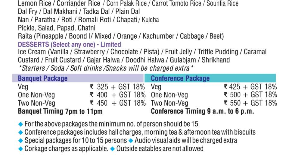 Hotel Raviraj, Pune Pune packagemenu
