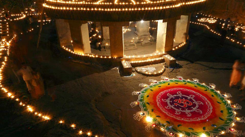 Diwali lighting at Pataleshwar Caves Temple Maharashtra
