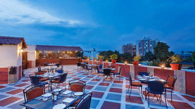 Terrace grill restaurant at La Place Sarovar Portico Lucknow, lucknow hotels