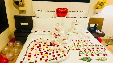 birthday decoration in the room at Narayani Heights, hotel room in Gandhinagar 1