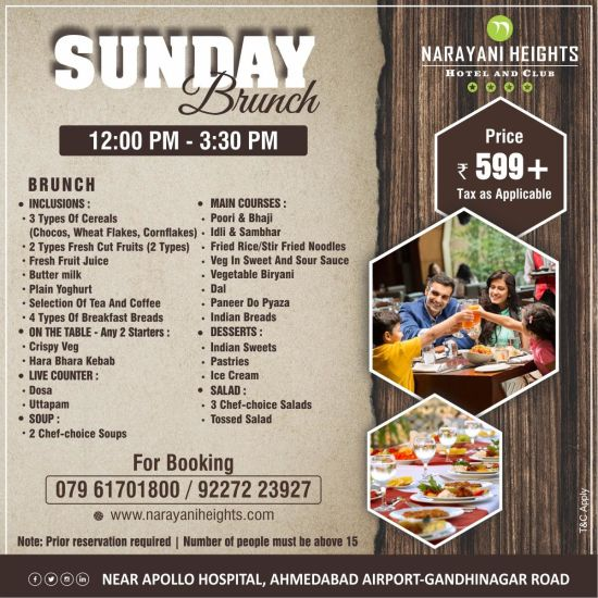 sunday brunch offer at Narayani Heights hotel ahmedabad, 4 star hotel in ahmedabad 1