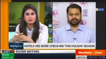 Mr. Vishal Kamat Director of Kamat Group of Hotels interview on Bloomberg Quint