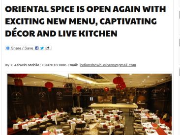 Oriental Spice at Pride Plaza Hotel Date.17-10-2019 Indian Show Biz Com.