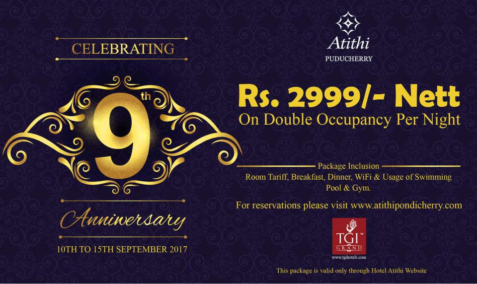 Hotel Atithi, Pondicherry Pondicherry Anniversary banner TGI-Residency Hotel Atithi Pudducherry