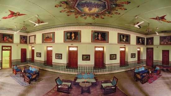 The Piramal Haveli - 20th C, Shekhavati Shekhavati The colourfull kitsch frescoes The Piramal Haveli Shekhavati Hotel Rajasthan