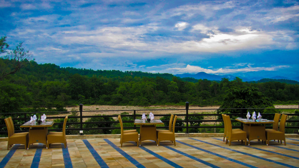 The golden Forest restaurant at The Golden Tusk Resort, Restaurants in Corbett 1
