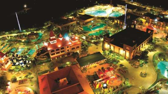 Panoramic night view of Wonderla Amusement Park Bangalore