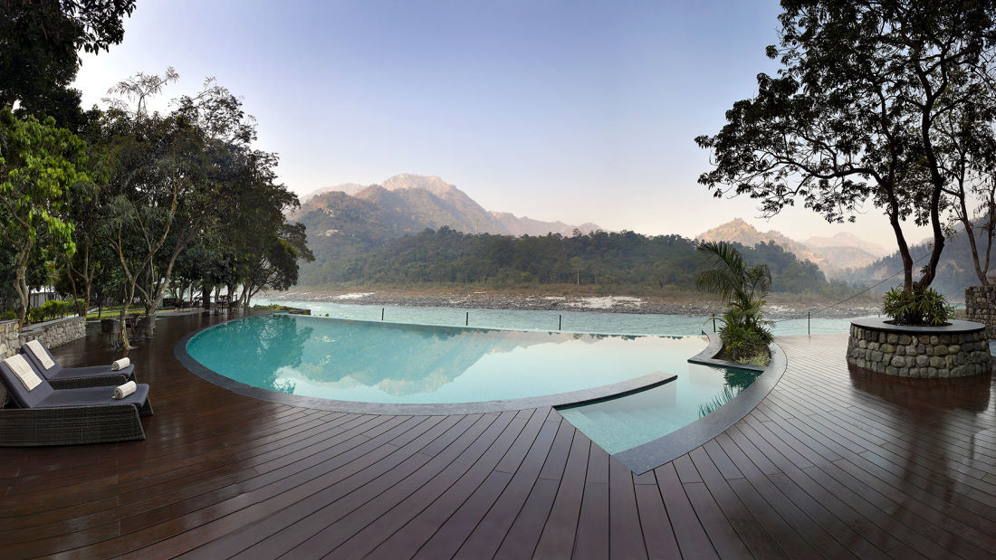 Pool Deck with the river and mountain view