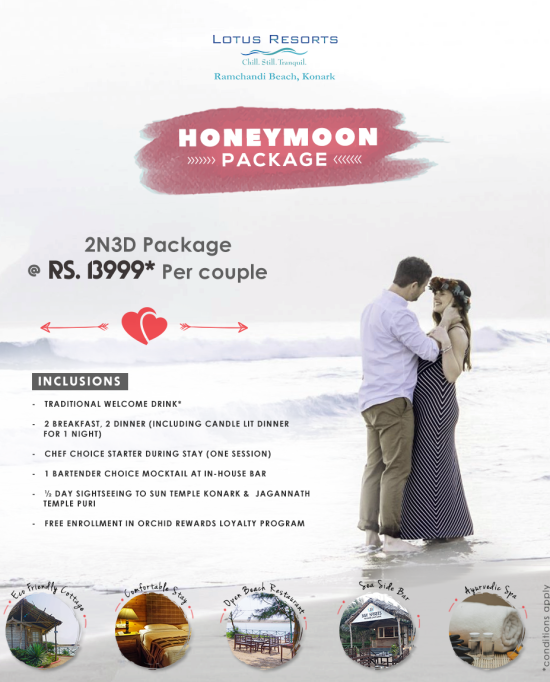 Honeymoon Package, Lotus Eco Beach Resort Konark. Hotel Near Konark Beach