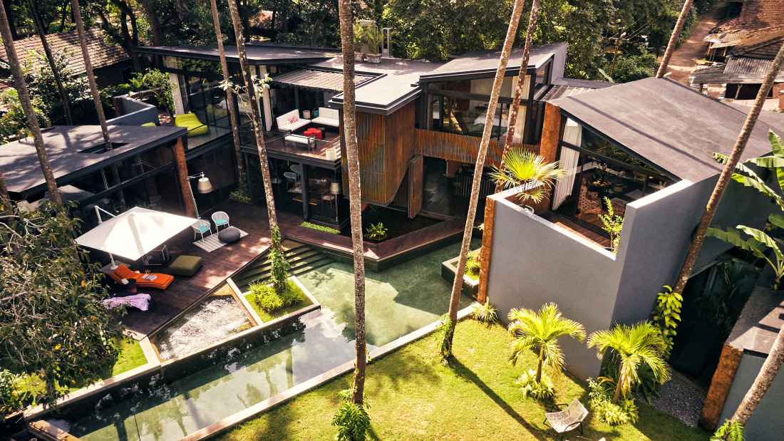 Aerial view of the villa in Goa Calangute - Villa in Palms by V Escapes