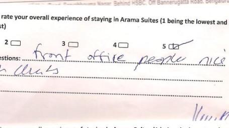 Hotel Arama Suites Bangalore Feedback 2 Hotel Arama Suites Bangalore
