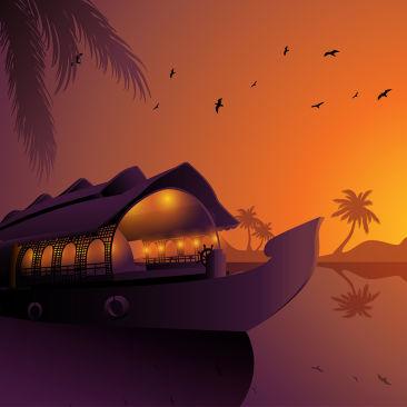 Alappuzha Houseboats Kerala Silhouette Free Vector