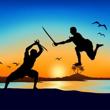 Kerala Sword Fight Beach Free Vector-01