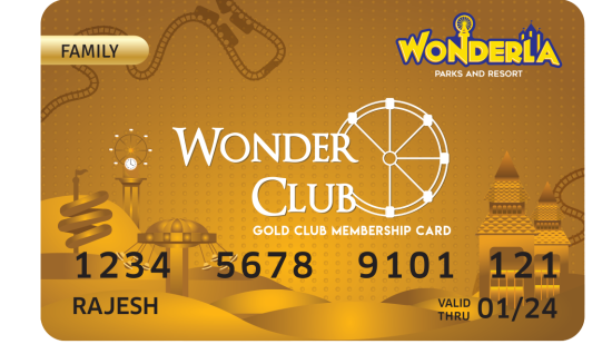 Wonderla Membership Card W 86 x H 54 mm gc Family