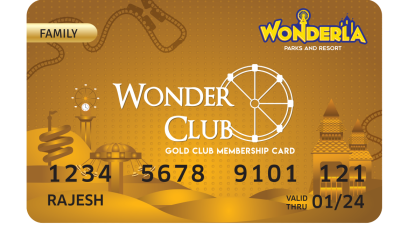 Wonderla Membership Card W 86 x H 54 mm gc Family
