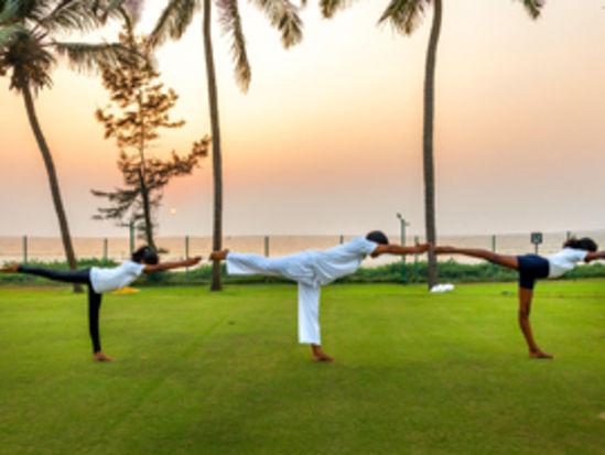 yoga class at caravela beach resort