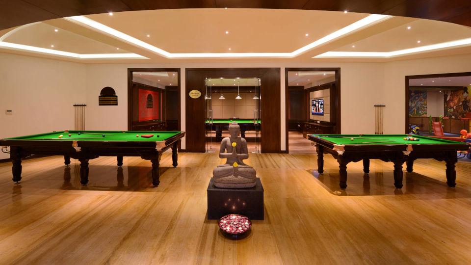 Billiards table at games zone in ananta udaipur resort
