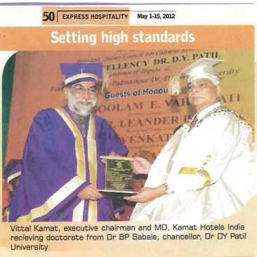 Doctorate Dr.Vithal Kamat Orchid Hotel India