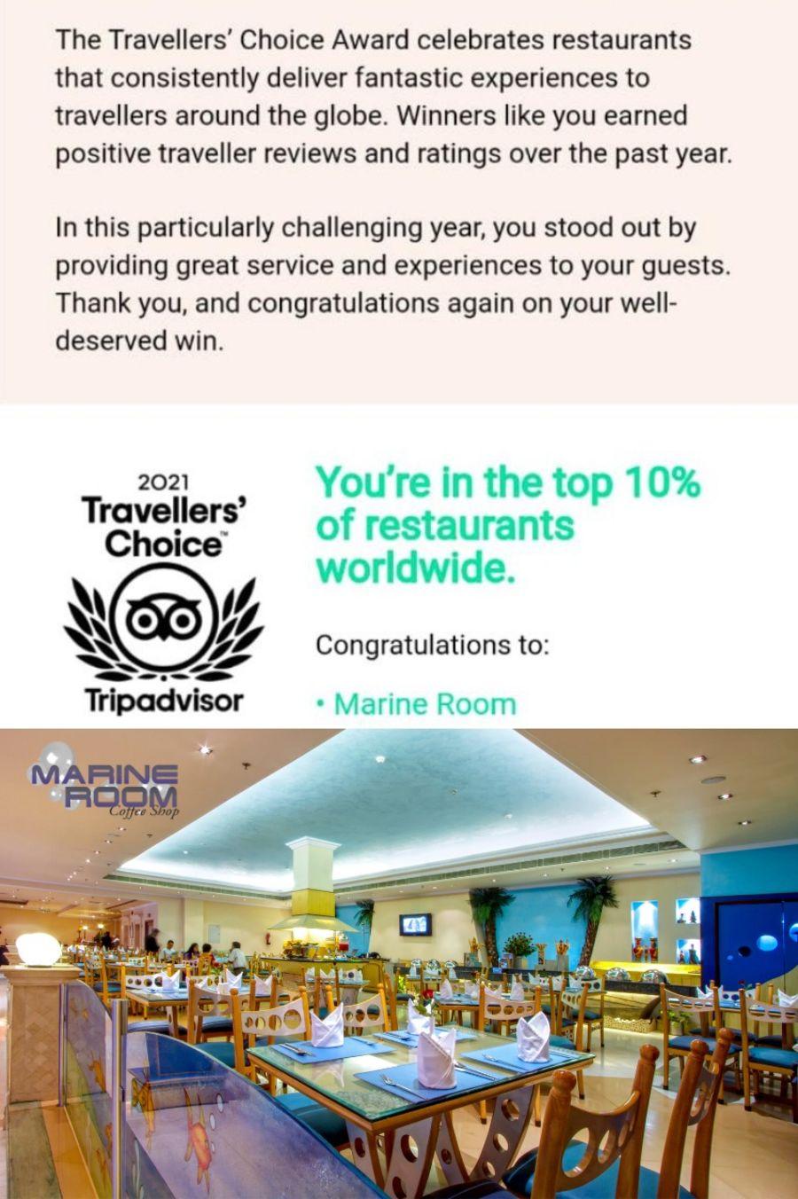 Traveler choice award Marine Room 1