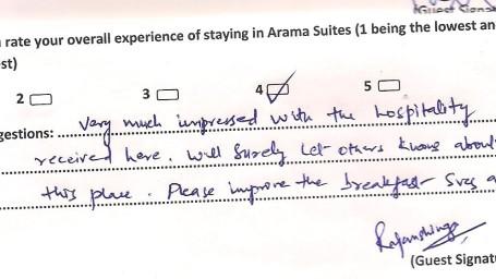 Hotel Arama Suites Bangalore Feedback 16 Hotel Arama Suites Bangalore