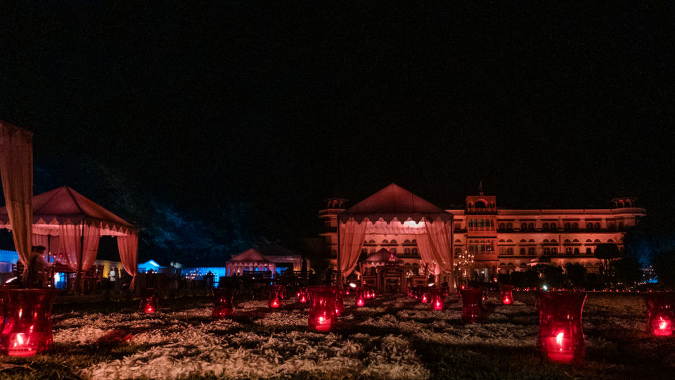 Night Outdoor Lawn Set Up - Umaid Lake Palace