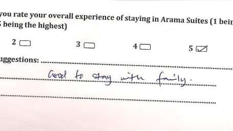 Hotel Arama Suites Bangalore Feedback 9 Hotel Arama Suites Bangalore