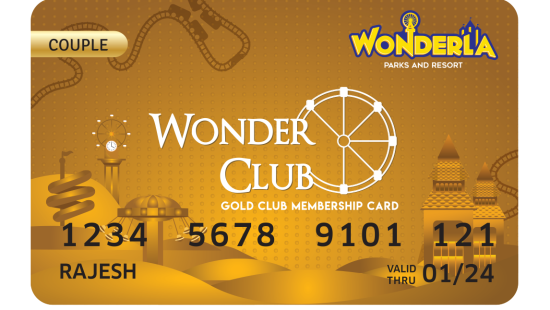 Wonderla Membership Card W 86 x H 54 mm gc Couple