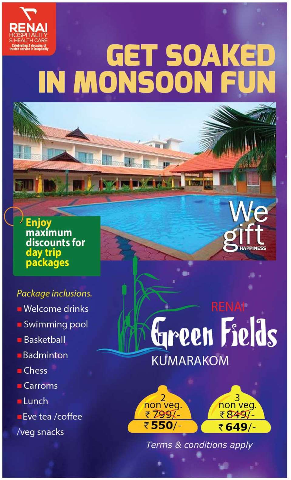 Day Out Monsoon Fun at Green Fields Kumarakom