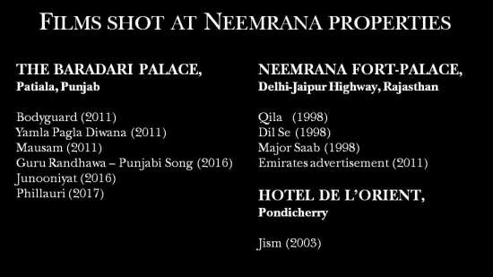 Neemrana Hotels  Film shoots at Neemrana hotels