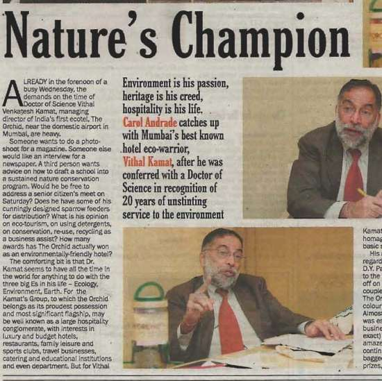 Narure s Champion Dr.Vithal Kamat Orchid Hotel India