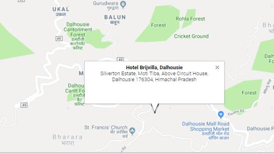 Location, Brijvilla, Dalhousie Hotel
