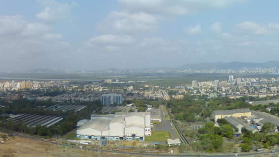 Airoli  Navi Mumbai  skyline from hills behind Airoli  May 2009