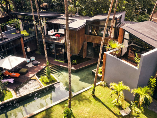 Aerial view of the villa in Goa Calangute - Villa in Palms by Vescapes