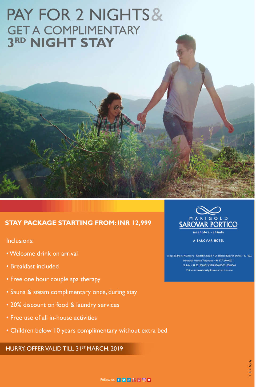 Marigold Sarovar Portico Mashobra - Stay Package