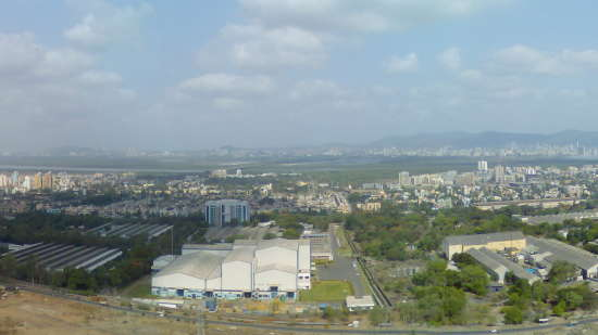 Airoli  Navi Mumbai  skyline from hills behind Airoli  May 2009