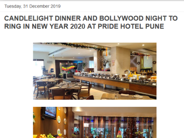 PRIDE HOTEL PUNE Mumbai News Network Latest News NEW YEAR 2020 Date 31-12-2019