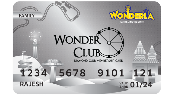 Wonderla Membership Card W 86 x H 54 mm dc Family