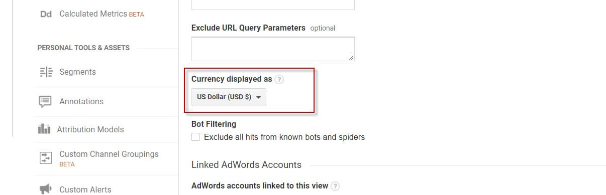 Currency setting Missed