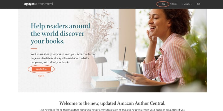 Author Central Sign-Up page will welcome you to sign-up or sign-in through the buttons located throughout the page.