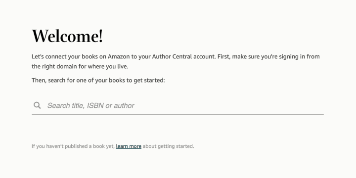 Author Central's welcome screen will help you find your book through a search bar.