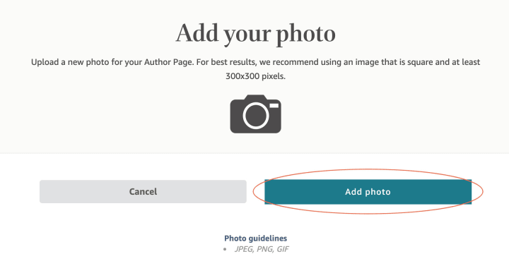 """Click the """"Add Photo"""" to upload a .jpeg, .gif, or .png file from your computer"""