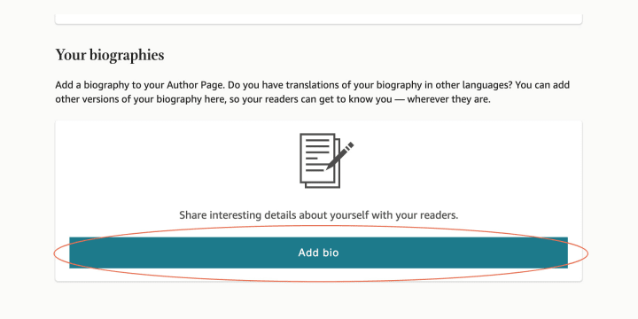"""You can find the """"Add Bio"""" button on the right of your author profile screen"""