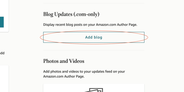 """To start, locate the """"Add blog"""" button in your """"Profile"""" section"""