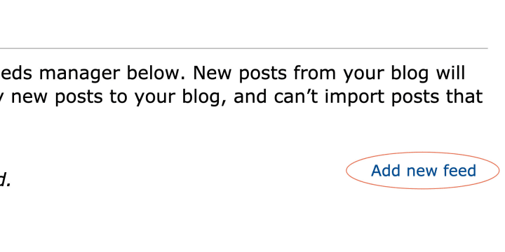 """The """"Add New Feed"""" link will take you to the RSS feed URL menu"""