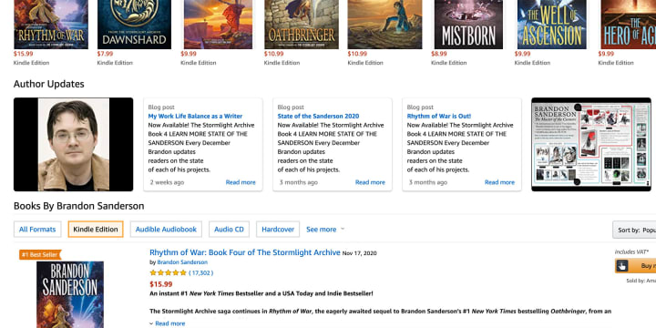 Your photos and videos will appear in a carousel at the bottom of your Amazon author profile
