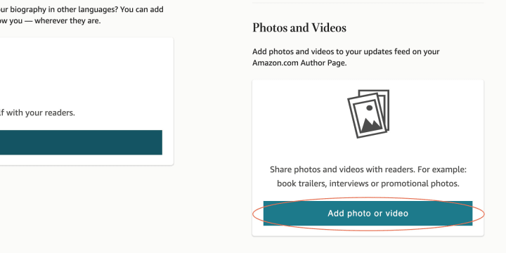 """The """"Add Photos or Videos"""" buttons will take you to the """"Upload Media"""" screen"""