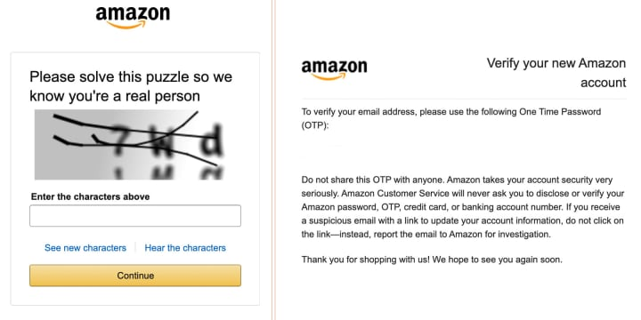 After solving the Captcha, you'll receive a message from Amazon in your inbox.