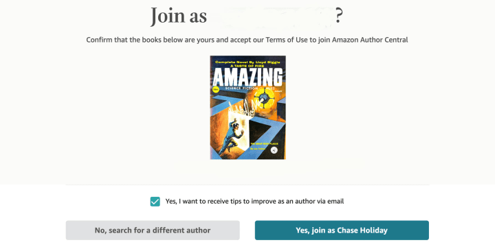 Author Central will ask you to confirm your pen name.