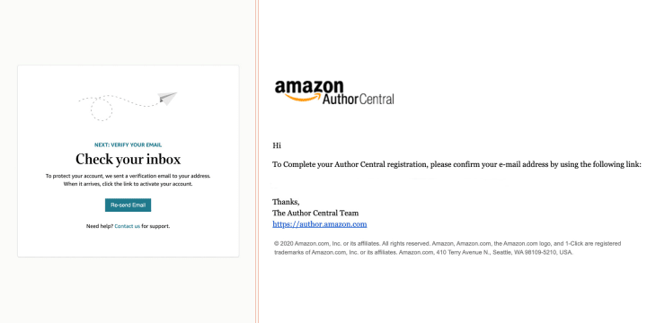"""Amazon's email will read """"To complete your author central registration, please confirm your e-mail by using the following link"""" address"""